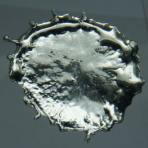 Droplet of molten tin